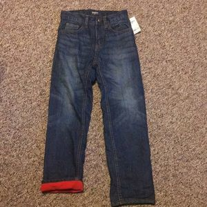 New Osh Kosh Boys Jeans Size 8 Red Fleece Lined